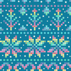 Fair Isle - rainbow on teal