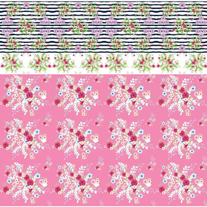 shabby chic- pink floral -  purple passion border