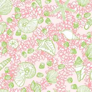 Seashells & Flower Leis in Pink & Green