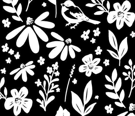 prairie wildflower BW fabric by rockridgeacres on Spoonflower - custom fabric