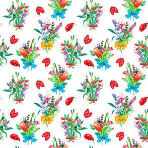 Botanical seamless pattern with bouquets and ladybugs on white