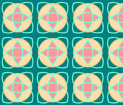 Nucleus Teal with Gold Aqua Coral fabric by scarlettrose on Spoonflower - custom fabric