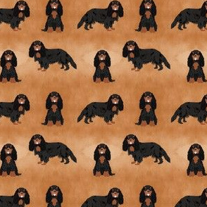 SMALL - cavalier king charles spaniel fabric - - watercolor texture -  black and tan dog, dog fabric, cavalier dog fabric, spaniel dog fabric, dog breeds fabric - brown
