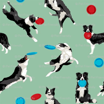 Border Collie Disc Dog fabric - disc dog, dog, dogs, agility dog, border collie fabric, black and white border collie dog, dog fabric by the yard - green