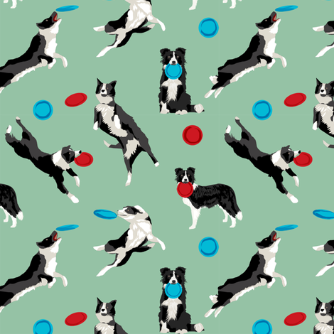 Border Collie Disc Dog fabric - disc dog, dog, dogs, agility dog, border collie fabric, black and white border collie dog, dog fabric by the yard - green fabric by petfriendly on Spoonflower - custom fabric