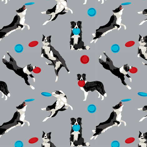 Border Collie Disc Dog fabric - disc dog, dog, dogs, agility dog, border collie fabric, black and white border collie dog, dog fabric by the yard -  grey fabric by petfriendly on Spoonflower - custom fabric