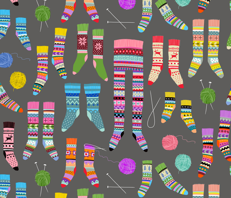 Fancy Fair Isle Feet (large scale on grey) fabric by cerigwen on Spoonflower - custom fabric