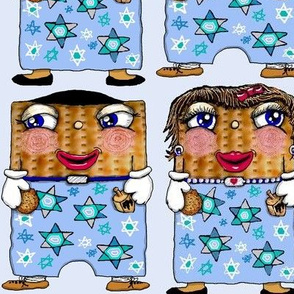 matzo boy and matzo girl together for Hanukkah! large scale, blue white tan brown black