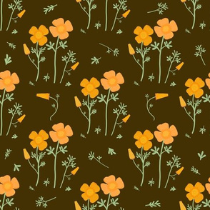 Floral Pattern-California Poppies-Brown