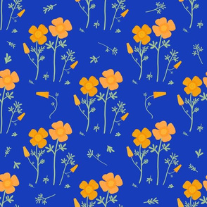 Floral Pattern-California Poppies- Blue