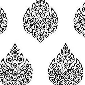 Thai Damask Black White