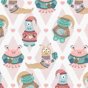 Cozy Monsters in Fair Isle Sweaters on Pink