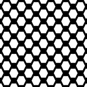 Small Hexes - White on Black