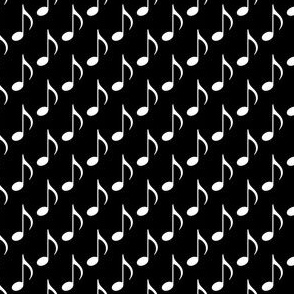Music Note - White on Black