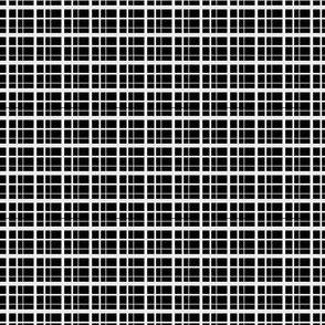 Plaid-style Stripes - White on Black