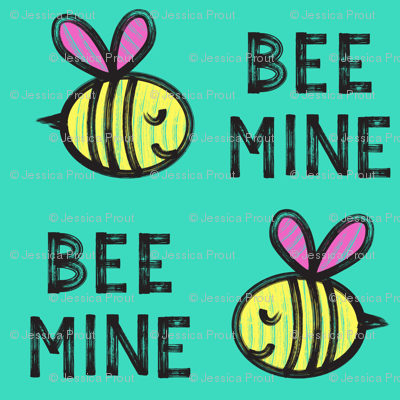 Bee Mine - teal 2 - valentines day