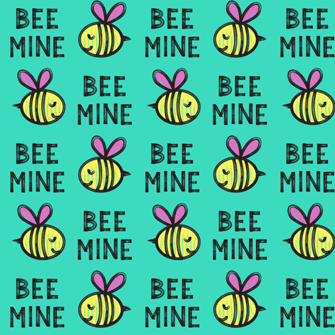 Bee Mine - teal 2 - valentines day  fabric by littlearrowdesign on Spoonflower - custom fabric