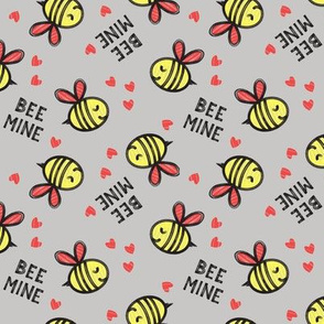 Bee Mine (Red)  - Grey - valentines day