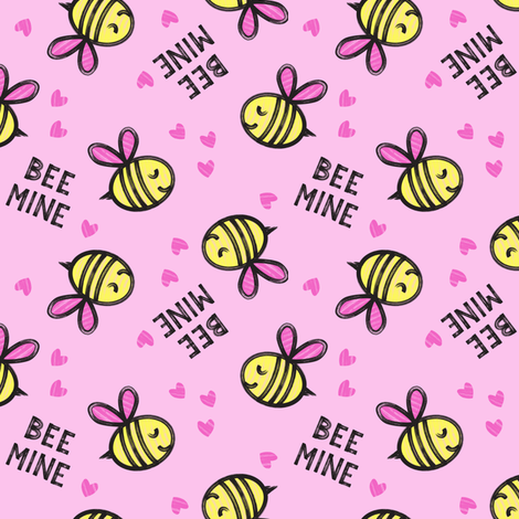 Bee Mine - Pink - valentines day fabric by littlearrowdesign on Spoonflower - custom fabric