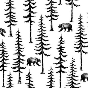 Pine Trees and Bears in Black on white