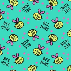Bee Mine - teal - valentines day