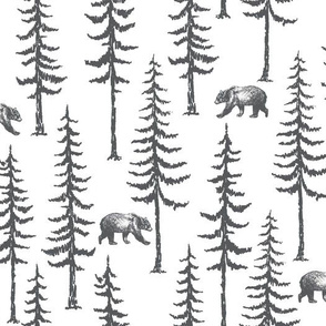 Pine Trees and Bears in Dark Grey on white