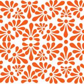 Talavera Fan Motif - Orange on White