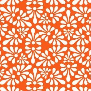 Talavera Fan Motif - White on Orange