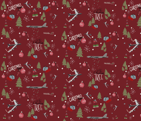 B52 on red fabric by jennikainoriginals on Spoonflower - custom fabric