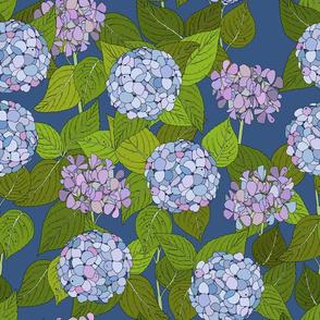 Hydrangea tile mid blue - large