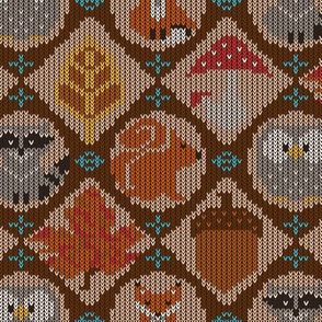 Woodland Fair Isle Brown Tan