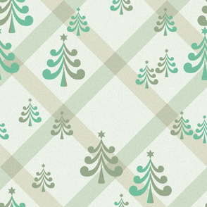 christmas trees in light teal