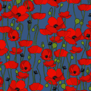 poppy repeat mid blue