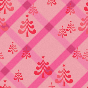 christmas trees in pink