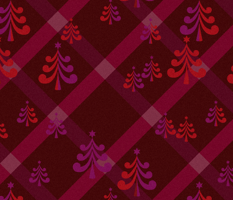 christmas trees in  burgundy fabric by dessineo on Spoonflower - custom fabric