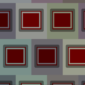 Dark Red Rectangular boxes with silver boxes