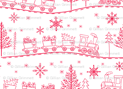 Christmas Trains with Gifts in Cherry Red on White