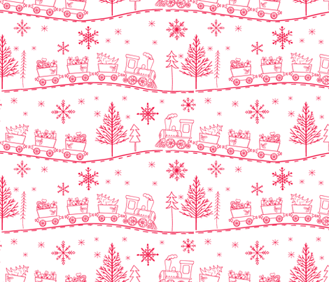 Christmas Trains with Gifts in Cherry Red on White fabric by red_raspberry_designs on Spoonflower - custom fabric