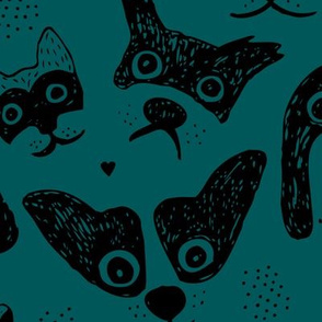 Dogs are awesome cool puppy love animal design black ink on teal green JUMBO