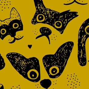 Dogs are awesome cool puppy love animal design black ink on mustard JUMBO