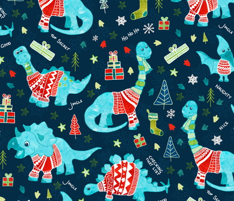 Dinosaurs in Sweaters fabric by gingerlique on Spoonflower - custom fabric