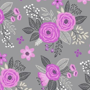 Vintage Antique Floral Flowers Purple Lilac on Grey