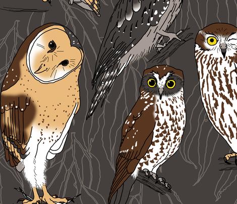 OWLS of Australia (large scale) fabric by pavlovais on Spoonflower - custom fabric