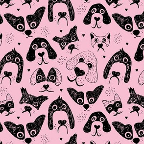 Dogs are awesome cool puppy love animal design black ink on pink