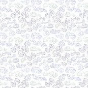 White Chinese inspired repeat pattern with waves, clouds & blue lines