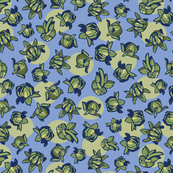 Blue repeat pattern with green dahlia buds