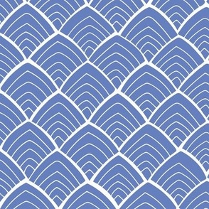 Japan inspired blue repeat pattern with white lines & abstract mountains