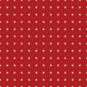 Red french inspired repeat pattern with white small elements