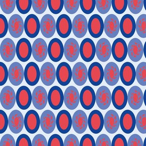 Japan inspired red & blue ellipse pattern
