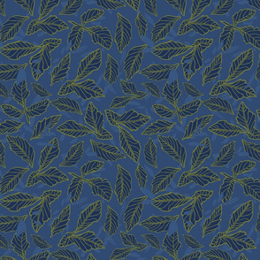 Dark blue repeat pattern with leaf texture